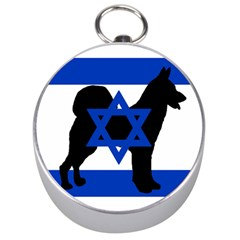 Cannan Dog Silhouette Flag Of Israel Silver Compasses