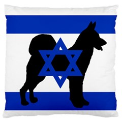 Cannan Dog Silhouette Flag Of Israel Large Flano Cushion Case (One Side)