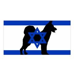 Cannan Dog Silhouette Flag Of Israel Satin Shawl