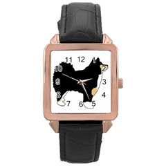 Finnish Lap Silo Color Rose Gold Leather Watch