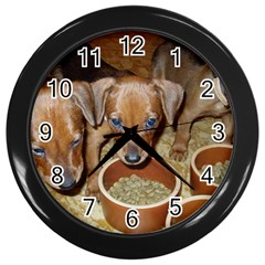 German Pinscher Puppies Wall Clocks (Black)