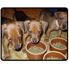German Pinscher Puppies Fleece Blanket (Medium)