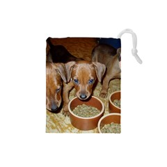 German Pinscher Puppies Drawstring Pouches (Small)