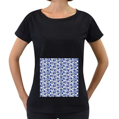 Roses pattern Women s Loose-Fit T-Shirt (Black)