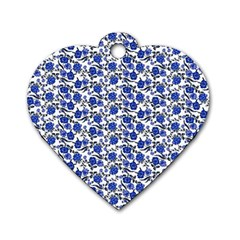 Roses pattern Dog Tag Heart (Two Sides)