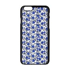Roses pattern Apple iPhone 6/6S Black Enamel Case