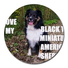Mini Australian Shepherd Black Tri Love W Pic Round Mousepads