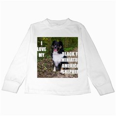 Mini Australian Shepherd Black Tri Love W Pic Kids Long Sleeve T-Shirts