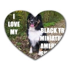 Mini Australian Shepherd Black Tri Love W Pic Heart Mousepads