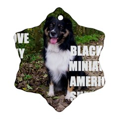 Mini Australian Shepherd Black Tri Love W Pic Ornament (Snowflake)