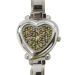 Roses pattern Heart Italian Charm Watch