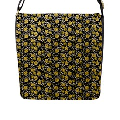 Roses pattern Flap Messenger Bag (L)