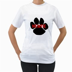 Newfie Name Paw Women s T-Shirt (White) (Two Sided)