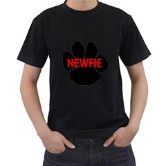 Newfie Name Paw Men s T-Shirt (Black) (Two Sided)