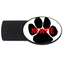 Newfie Name Paw USB Flash Drive Oval (4 GB)