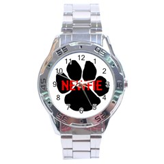 Newfie Name Paw Stainless Steel Analogue Watch