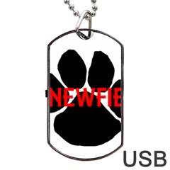 Newfie Name Paw Dog Tag USB Flash (One Side)