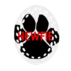 Newfie Name Paw Oval Filigree Ornament (Two Sides)