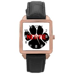 Newfie Name Paw Rose Gold Leather Watch