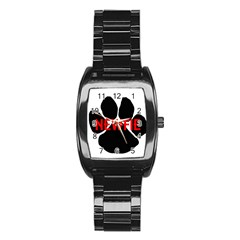 Newfie Name Paw Stainless Steel Barrel Watch