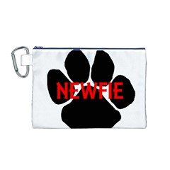 Newfie Name Paw Canvas Cosmetic Bag (M)