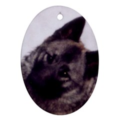 Norwegian Elkhound Oval Ornament (Two Sides)