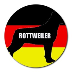 Rottweiler Name Silo On Flag Round Mousepads