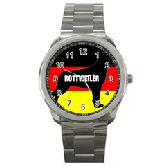 Rottweiler Name Silo On Flag Sport Metal Watch