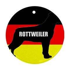 Rottweiler Name Silo On Flag Round Ornament (Two Sides)