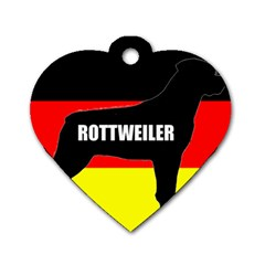 Rottweiler Name Silo On Flag Dog Tag Heart (One Side)
