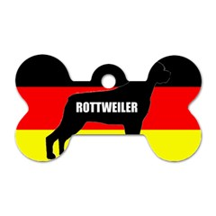 Rottweiler Name Silo On Flag Dog Tag Bone (Two Sides)