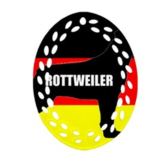 Rottweiler Name Silo On Flag Ornament (Oval Filigree)