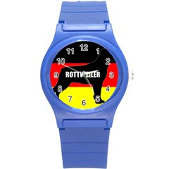 Rottweiler Name Silo On Flag Round Plastic Sport Watch (S)