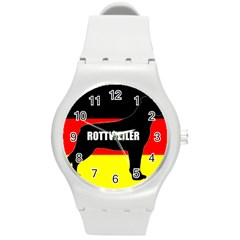 Rottweiler Name Silo On Flag Round Plastic Sport Watch (M)