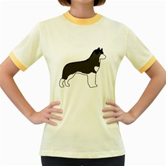 Siberian Husky Silo Color Women s Fitted Ringer T-Shirts