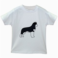 Siberian Husky Silo Color Kids White T-Shirts