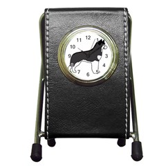 Siberian Husky Silo Color Pen Holder Desk Clocks