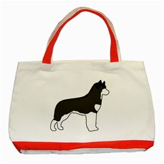 Siberian Husky Silo Color Classic Tote Bag (Red)