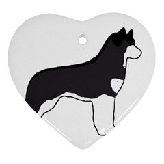 Siberian Husky Silo Color Heart Ornament (Two Sides)