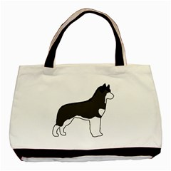 Siberian Husky Silo Color Basic Tote Bag (Two Sides)