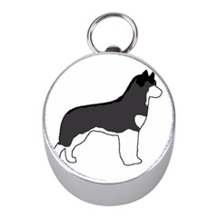 Siberian Husky Silo Color Mini Silver Compasses