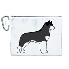 Siberian Husky Silo Color Canvas Cosmetic Bag (XL)