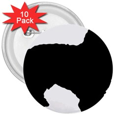 Spanish Water Dog Silhouette 3  Buttons (10 pack)