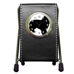 Spanish Water Dog Silhouette Pen Holder Desk Clocks