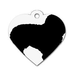 Spanish Water Dog Silhouette Dog Tag Heart (One Side)