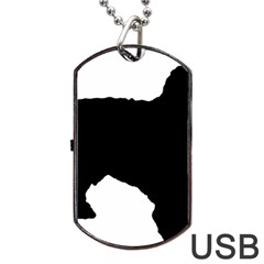 Spanish Water Dog Silhouette Dog Tag USB Flash (One Side)