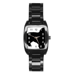 Spanish Water Dog Silhouette Stainless Steel Barrel Watch