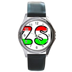 Hungary Flag In Vizsla Name Round Metal Watch