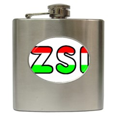 Hungary Flag In Vizsla Name Hip Flask (6 oz)