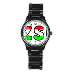 Hungary Flag In Vizsla Name Stainless Steel Round Watch
